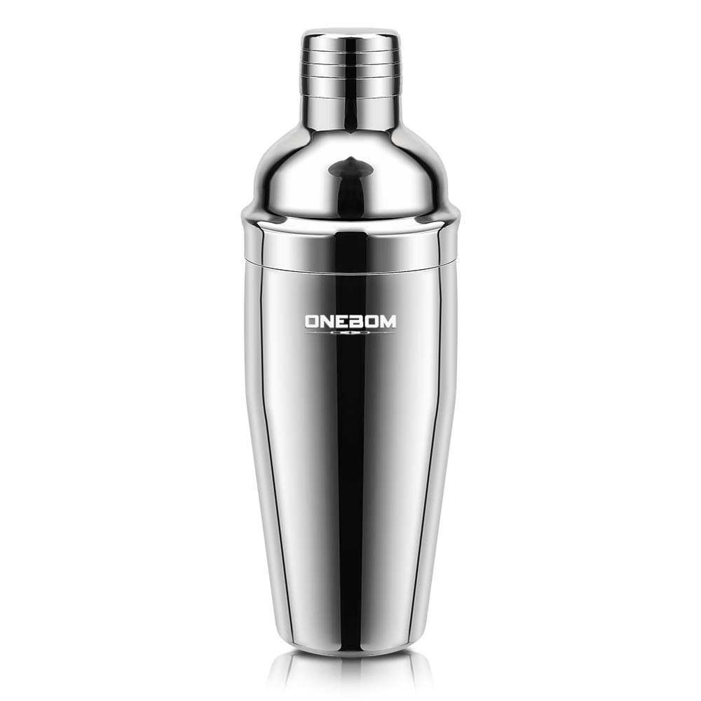 OneBom Cocktail Shaker,Food Grade Stainless Steel, with Jigger Cap & Strainer, Martini Shaker Set Large Capacity for Drinks Bar Home Use (3 - Piece Set) by OneBom