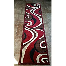 Modern Contemporary Abstract Runner Swirl Carpet King Area Rug Red Design 144 (2 Feet X 7 feet 3 Inch )