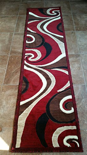 2'x7'7' Runner Area Rug (Modern Abstract Runner Swirl Area Rug Red Americana Design 144 (2 Feet X 7 feet 3 Inch ))