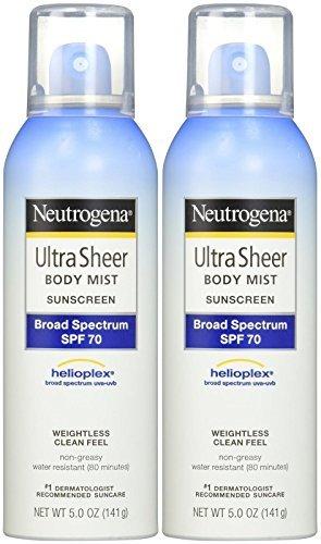 Neutrogena Ultra Sheer Body Mist Sunscreen SPF 70 - 5 oz - 2 pk