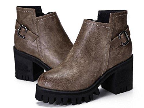 Martin britannica impermeabili 120W BROWN NSXZ con stivali di rotonde stivali donna stivali 36 retrò alti stivali cerniera spessore con 8qSxEfIwS