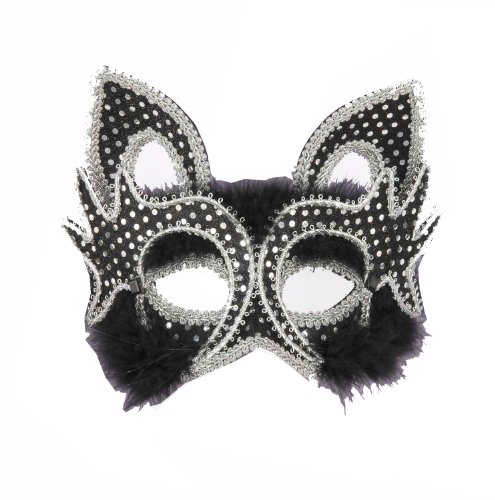 Forum Mardi Gras Costume Masquerade Cat Mask with Sequins and Marabou Faux Fur, Black/Silver, One (Mardi Gras Cat Mask)