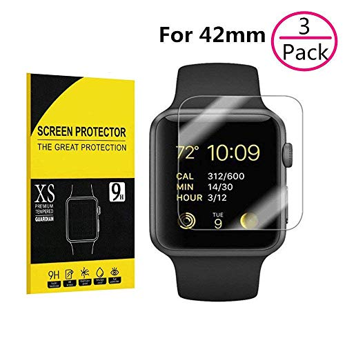 3 Pack for Apple Watch 42mm Screen Protector,Sarimax 9H Hardness, Bubble Free, HD Clear Tempered Glass Screen Protector for Apple Watch 42mm Series 1/2/3