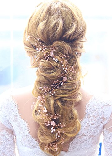 Missgrace Extra Long Rose Gold Hair Vine Crystals Bridal Hair Vine Wedding Hair Vine Crystals Bridal Wedding Pearl Hair Vine Wedding Hair Accessory for Party and Evening 19.7 Inches …