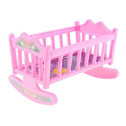 Prettyia Sweet Rocking Cradle Crib Bed Baby Bedroom Furniture Accessory for  20cm Dolls Kids Toy Pink