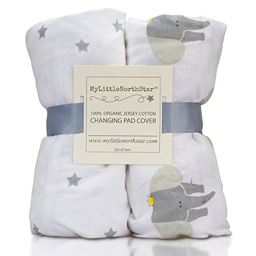 Price comparison product image 100% Organic Jersey Cotton Changing Pad Cover Unisex - 2 Pack 16X32 Gray and white for Boy or Girl. Perfect for Cradle and Bassinet - by My Little North Star