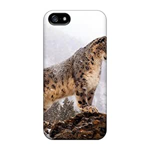 RomeoJr Premium Protective Hard Case For Iphone 5/5s- Nice Design - Snow Leopard Sting On A Rock