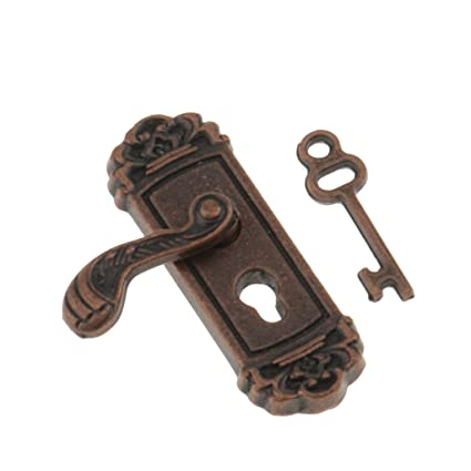MonkeyJack 1:12 Vintage Metal Door Knob Plate Key Set Dollhouse Miniature  Left Handle