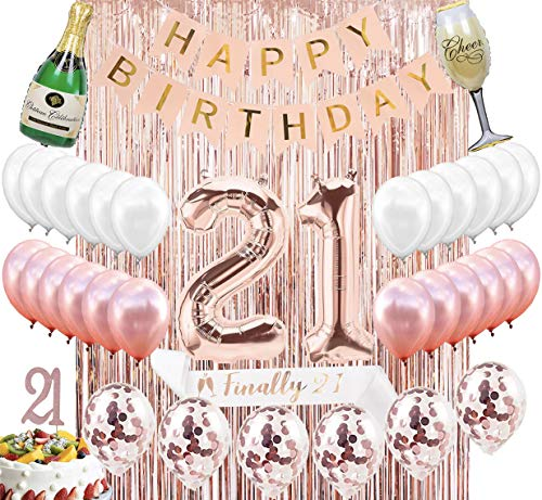 (21st Birthday Decorations Party Supplies Kit - 21st Birthday Gifts for her,21 Cake Topper Banner sash Rose Gold Curtain Backdrop Props Confetti Balloons Champagne Balloon Latex)