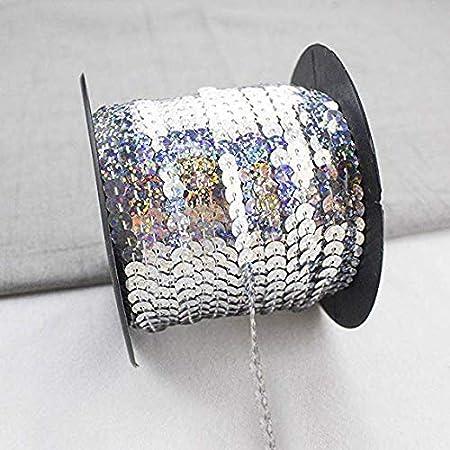 f/ür Hochzeit Handwerk Basteln,Bauchtanz Deko,Tanzbekleidungen UVM. Armee Gr/üner Laser RAILONCH 90m*6mm Pailletten B/änder DIY Paillettenband