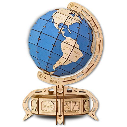 (EWA Eco-Wood-Art Model - Globe (Blue) 3D Wooden Puzzle DIY Mechanical with Secret Lock-Box, Without Glue)