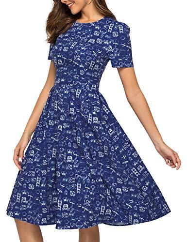 Simple Flavor Women's Floral Summer Midi Dress Vintage Evening Dress Short Sleeve (0018Blue, XXL)