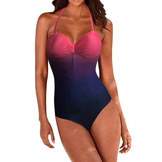 21e49e4938 Sexy Halter Push Up Colourful One Piece Swimsuit for Women Gradient ...