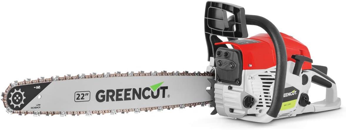 GREENCUT GS680X - Motosierra de gasolina con motor de 2 tiempos 68cc y 3,9cv con espada de 22'', Arranque Easy-Start, Sistema Anti-Vibración, Tecnología TRU-SHARP