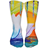 Unisex Classics Socks Lotus Flower Dawn Zen Painting Athletic Stockings 30cm Long Sock One Size