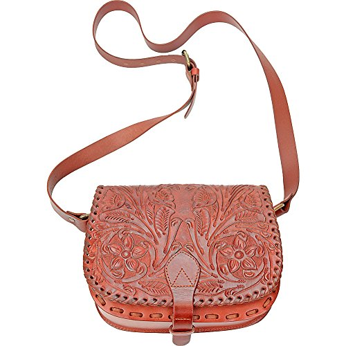 - R & R Collections Hand Tooled Floral Flap Saddle Bag (TAN)