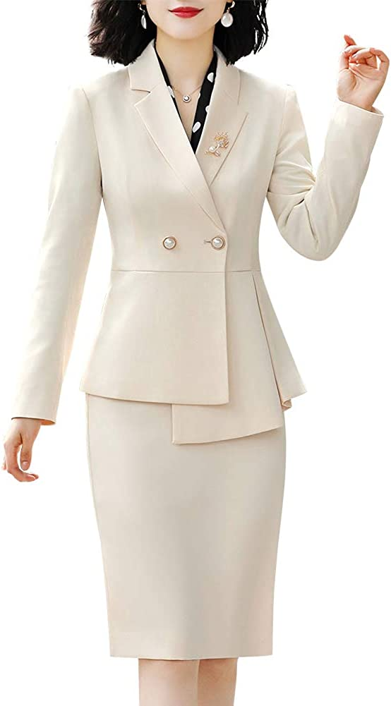 LISUEYNE Women's Elegant 2 Piece Office Lady Business Suit Set Slim Fit Work Suits for Women Blazer Jacket,Skirt Suits