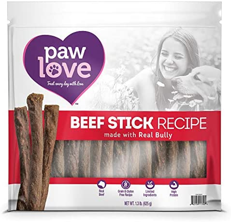 PawLove Dog Treats Quick and Crunchy Beef Stick Recipe Dog Snacks Light and Airy Chew Rich in Delicious Beef Flavor Healthy Grain Free, High Protein Chew – Small and Large Dog Sizes