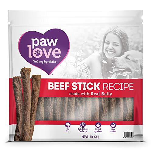 (PawLove Treats Quick and Crunchy Gourmet Beef Stick Recipe Dog Snacks - Light and Airy Chew - Rich in Delicious Beef Flavor - Healthy Grain Free, High Protein Chew - Small Dog Size - (1.3 lb. Bag))