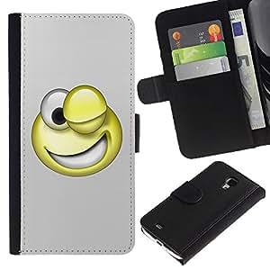 Ihec-Tech / Flip PU Cuero Cover Case para Samsung Galaxy S4 Mini i9190 MINI VERSION! - 3D Funny Smiley