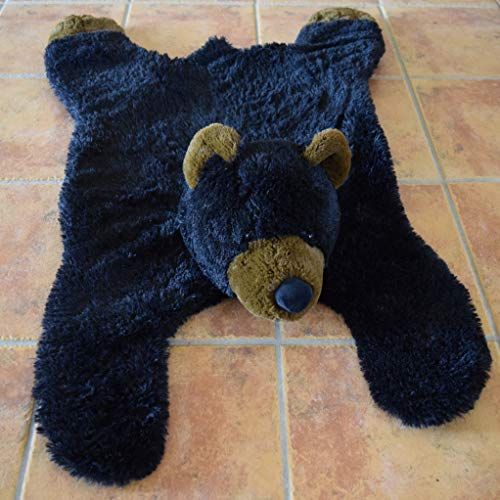 Faux Black Bear Skin Area Rug- Soft Nursery Bear Throw Rug -Kids Bear Blanket- Bear Fur Pet Bed 42