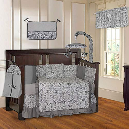 (BabyFad Grey Damask 10-Piece Baby Crib Bedding Set with Musical Mobile)