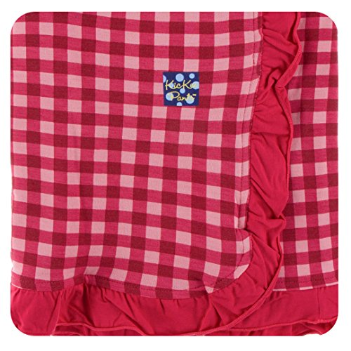 Kickee Pants Little Girls Print Ruffle Stroller Blanket Flag Red Gingham, One Size - Gingham Ruffle Pant