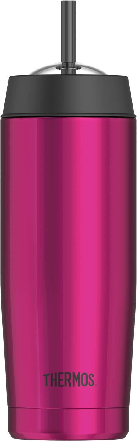 Thermos 16 Ounce Vacuum Insulated Cold Cup with Straw, Pink