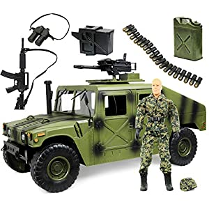 "Best Epic Trends 51ifcfxkxuL._SS300_ Click N' Play Military Jumbo 12"" Long Humvee Vehicle Action Figure Play Set with Accessories (CNP30558-)"