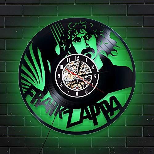 Levescale - Frank Zappa Lighted Vinyl Wall Clock - Express Shipping Bobby Brown - Perfect Music Gift for Boy Or Man - Decoration for Living Room, Cafe - Retro Composers Hologram Art Classical (Green) (The Best Of Frank Zappa 2019)