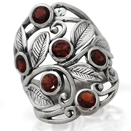 (2.16ct. Natural Garnet 925 Sterling Silver Filigree Leaf Ring Size 9)