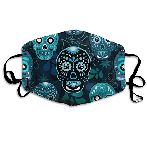 (MSONNET Anti Dust Face Mouth Cover Mask, Anti Germ/Flu/Air Protection Cute Earloop, Washable and Reusable Mouth Cover (Cute Mexican Sugar Skulls) )