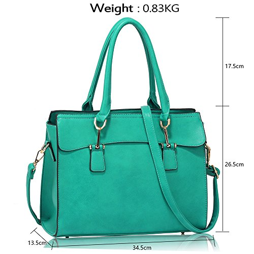 Leather Womens Shoulder New Large Bags Handbags Faux Designer Tote 1 Ladies Design Teal 8xrw86Zq