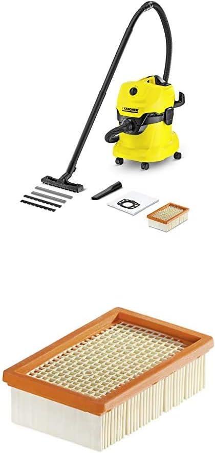 Kärcher WD4 - Aspirador en seco y húmedo, 220 - 240 V, Drum vacuum, de plástico, profesional, color negro y amarillo, versión alemana + Kärcher Filtro plegado plano: Amazon.es: Bricolaje y herramientas