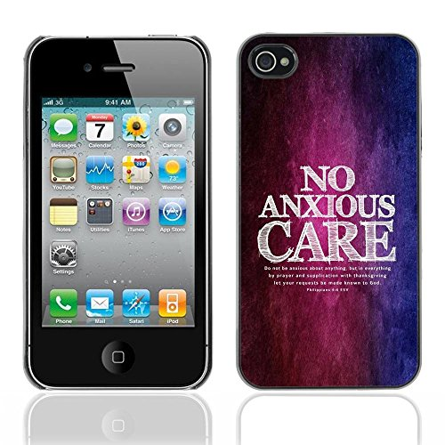 OMEGA Case / Apple Iphone 4 / 4S / PHILIPPIANS 4:6 NO ANXIOUS CARE / Cuir PU Portefeuille Coverture Shell Armure Coque Coq Cas Etui Housse Case Cover Wallet Credit Card