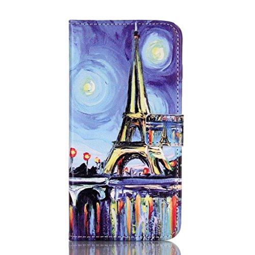 PowerQ Multi buntes Muster Serie PU-Kunstleder Fall Hülle Holster Case < Painting Tower | für IPhone6SPlus IPhone 6SPlus 6Plus IPhone6Plus >           mit schönen hübschen Muster Druck Detailzeichnung Geldbörse