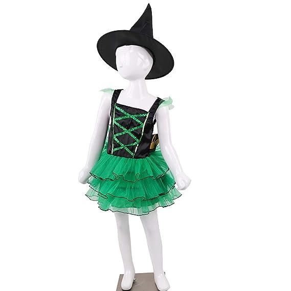 Halloween Bruja Disfraz, Bruja Banda Sombrero Green Capa Niños ...