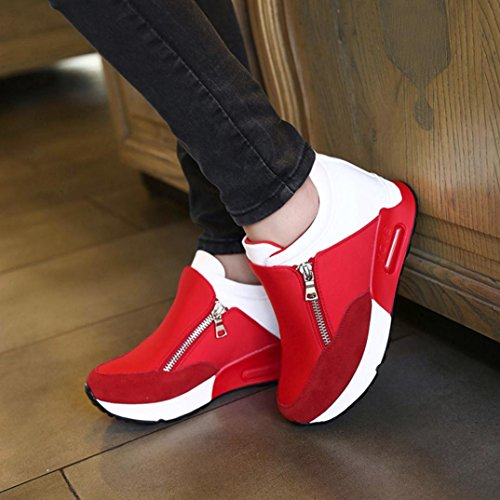 Sneakers Damen, Sunday Turnschuhe Freizeitschuhe Frauen Fashion Sport Laufen Wandern Dicke Boden Outdoor Reißverschluss Plateauschuhe Rot
