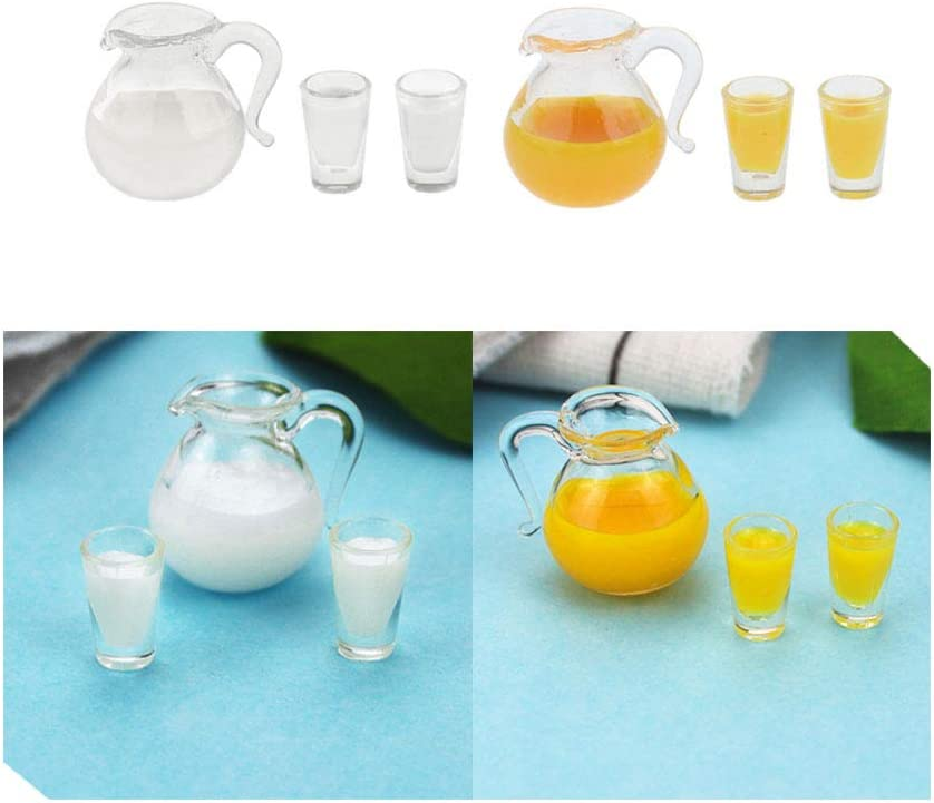 Acxico 2Set 1:12 Dollhouse Miniature Juice Drink Bottles Cups And Milk Cups for Food Accessory