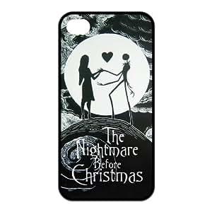LeonardCustom Protective Hard Rubber Coated Cover Case for iPhone4 iPhone4S, Nightmare Before Christmas Jack & Sally -LCI4U111