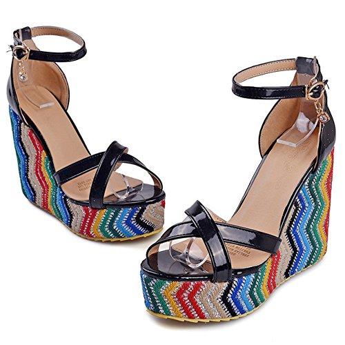 COOLCEPT Damen Mode Knochelriemchen Sandalen Open Toe Keilabsatz Schuhe Schwarz