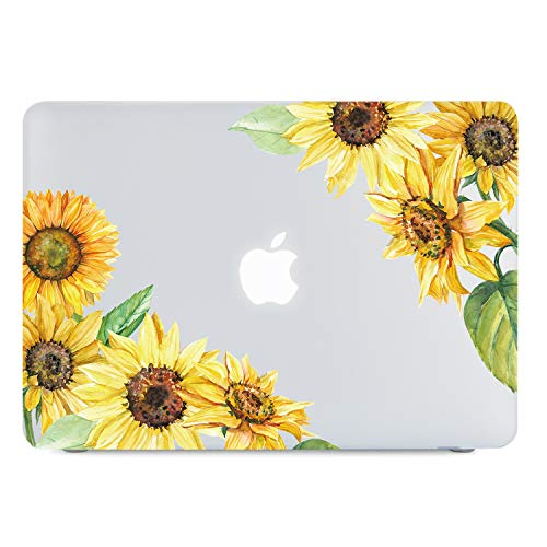 Sunflower MacBook Air 13 Inch Case 2018 2019 Release, Yellow Floral Clear Case, Soft Touch Hard Shell Case A1932 Retina Display Fit Touch ID