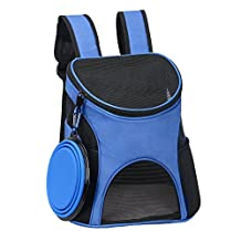 Ewolee Dog Carrier Backpack,Pet Cat Carrier Bag Soft Sided Airline Approved Travel Hiking Backpack Carriers for Small Dogs Cats up to 8lbs(Blue)