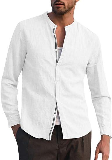 Leedy - Camisa de Manga Larga de Lino para Hombre Blanco M: Amazon.es: Ropa y accesorios