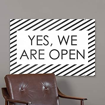 CGSignLab  Yes   18x12 5-Pack We are Open -Stripes White Premium Brushed Aluminum Sign