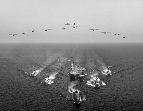 Home Comforts LAMINATED POSTER The U.S. Navy aircraft carrier USS Wasp (CVS-18) in formation with destroyers and aircraft of - Wasp Carrier Uss Aircraft