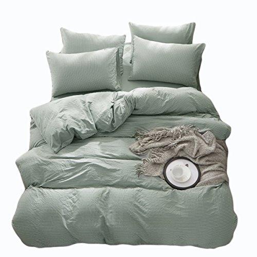 (DOLDOA Duvet Cover Set,Washed Cotton Bedding Down Comforter Cover Set,3 Piece (1 Duvet Cover + 2 Pillow Shams) (Queen - 90 x 90 inch, Stripe/Light Green))