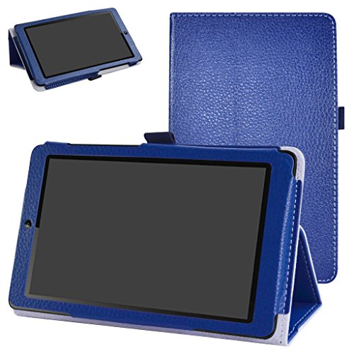 MediaPad T3 7.0 Case,Mama Mouth PU Leather Folio 2-folding Stand Cover with Stylus Holder for Huawei MediaPad T3 7.0 Inch Tablet,Dark Blue (Huawei Mediapad Case)