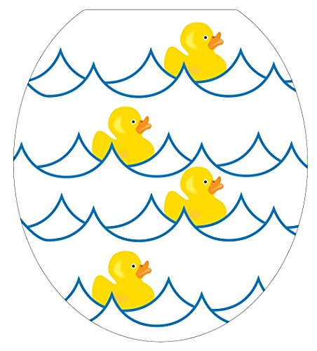 Toilet Tattoos TT-4000-O Rubber Ducky White Decorative Applique for Toilet Lid, Elongated ()