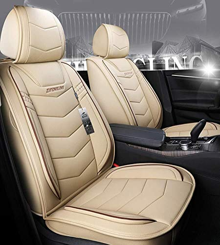 Easy to Clean Pu Leather Car Seat Cushions 5 Seats Full Set - Universal Fit Cover Anti-Slip Suede Backing Adjustable Bench for Types of Cars (Color : Beige):